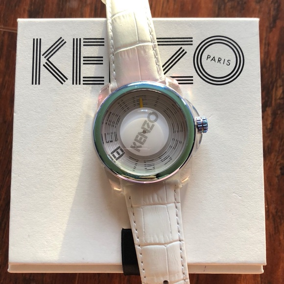 5fd1226c0 Kenzo Accessories | Watch With White Leather Band Nwt | Poshmark